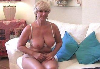 Chubby grandma with big old tits fucks a vibrator - 5 min HD
