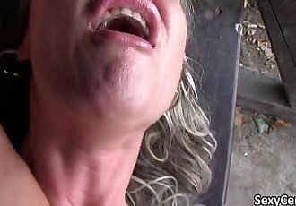 Mature lady banging cock outdoors - 7 min