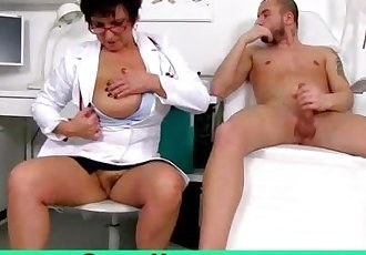 Big natural boobs milf doctor Greta sexy uniform and wank-job