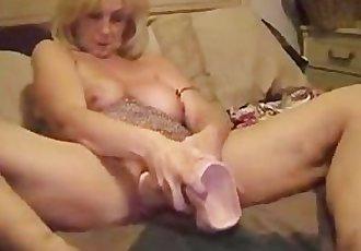 Old Slut Stuffs Enormous Dildo In Cunt