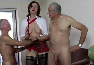 Mature british housewife fucked by two old men